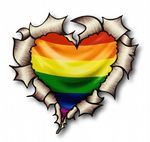 Ripped Torn Metal Heart with Gay Pride LGBT Rainbow Flag Motif External Car Sticker 105x100mm